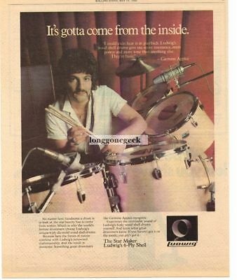 1980 LUDWIG Drums CARMINE APPICE Vtg Print Ad