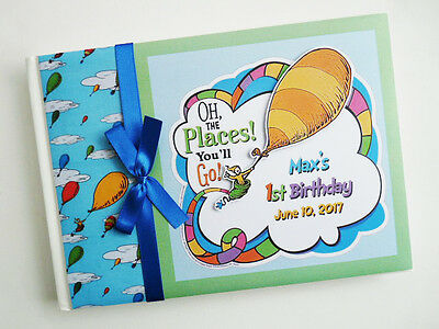 Dr Seuss Oh The Places You'll Go Birthday Guest Book - Any Design