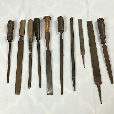 VTG Antique Lot of 10 Wood Files Punches Chisle Man Cave Tool Handles Decorative