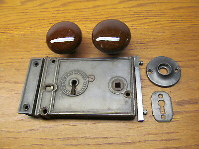 Old Russel & Erwin Surface Lock Rim Lock Box Latch..brown Bennington ? Knobs...