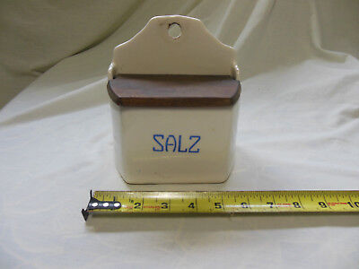 "Antique German Wall Hang Salt ""Salz"" Box Blue & White"