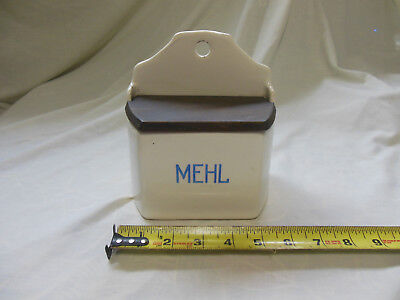 "Antique German Wall Hang Flour ""Mehl"" Box Blue & White"
