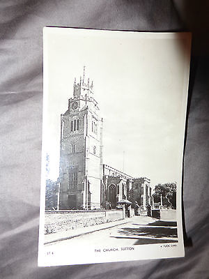 St Andrews Parish Church Tower Sutton Ely. Old Real Photo Postcard Tuck's oo