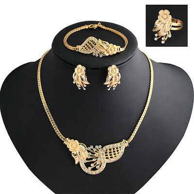 FX- Fashion Women Wedding Jewelry Set Gold Plated Necklace Earrings Set Gift Che