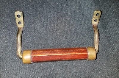 Single 3-Pc Antique Or Vintage Wood & Brass Or Bronze Drawer Pull Handle