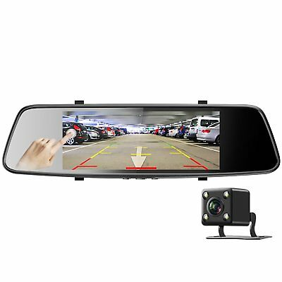 "Dash Cam Front and Rear View Mirror Monitor Parking Kit 7"" Touch Screen"