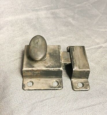 "Antique Salvaged Steel Black Cabinet Latch w/Keeper Receiver 2"" x 2"""