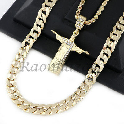 """Iced Out Christ Redeemer Pendant Diamond Cut 30"""" Cuban Rope Chain Necklace G47"""