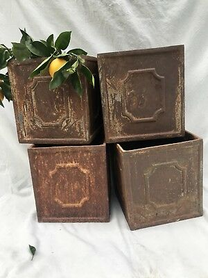 "Vintage Antique French Cast Iron Garden Planter Urn Square 12""   (#1)"