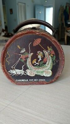 Vintage Antique Child's Hat Box Luggage  Cinderella and Her Coach