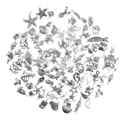 100pcs Bulk Lots Jewelry Making Silver Charms Mixed Sea Fish Animal Pendant
