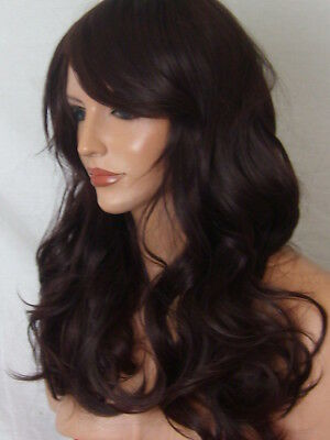 Sleek Black Plum Ladies Womens Real Natural Wavy Costume Fashion Fringe Wig P19