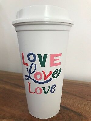 "Starbucks  "" LOVE"" Reusable Plastic Grande Coffee Cup Tumbler Recyclable"
