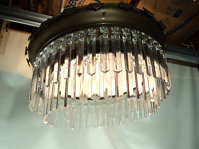 Large Antique Brass Glass Crystal Flush Mount light fixture
