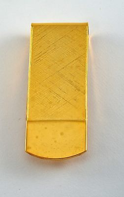 Vintage Collectible Shiny Brushed Gold Plated Brass Metal Money Clip NOS