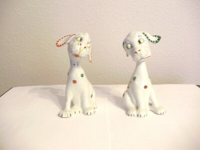 Pair of ART DECO colorful porcelain dogs circa 1930's MINT ink stamped Germany