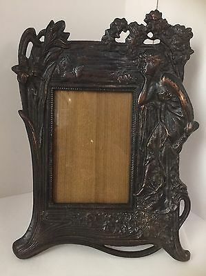 Vintage Art Nouveau Photo Frame Cast Metal Bronze Tone Figural Woman On Side