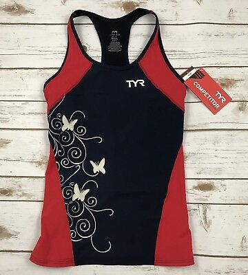 TYR Competitor Women's Tankini Top Triathlon Cycling Sleeveless Navy Red Sz L