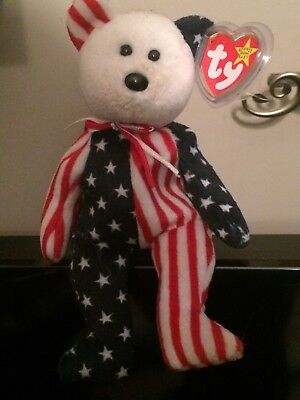 Ty Rare And Retired Beanie Babies Spangle Patriotic Bear Baby With Tags