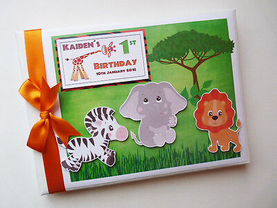 Personalised Safari Theme First/1St Birthday Guest Book - Any Design