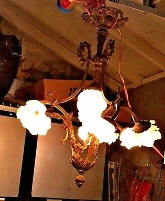 Antique 5 Light French XVI Bronze Chandelier with very beautiful details