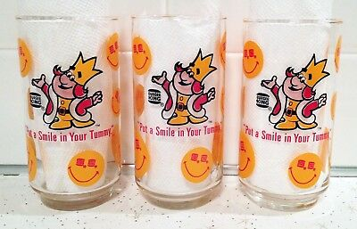 Vintage Burger King Advertising Glasses - Put a Smile in Your Tummy - Lot of 3