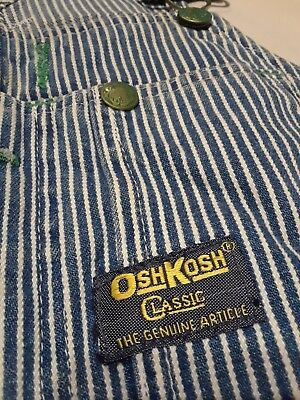 Excellent! Vintage Hickory Stripe Osh Kosh Sanforized Overalls Jeans Union Made