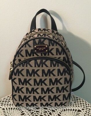 5a4c773f4971 NWT Michael Kors Abbey XS Mini Backpack Beige Black Signature MSRP  248