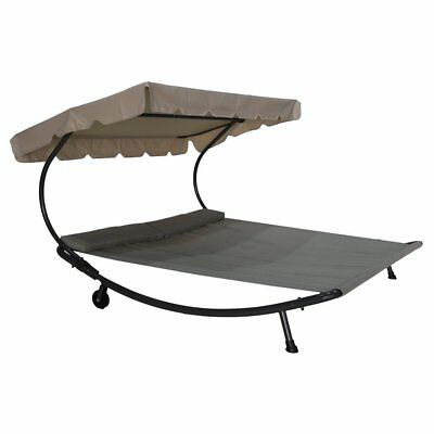 Abba Patio Outdoor Portable Double Chaise Lounge Hammock Bed w/Sun Shade/Wheels