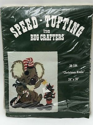 Rug Crafters Speed Tufting Christmas Koala Bear 24 in x 30 in Vintage 1980 Decor