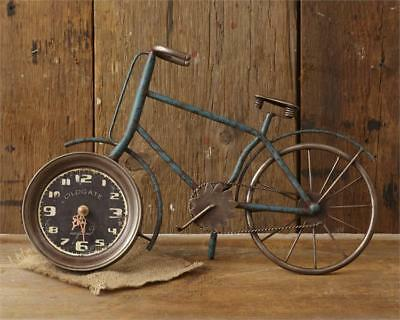 New French Country Rustic Vintage Style Bicycle Bike Shelf Mantel Clock