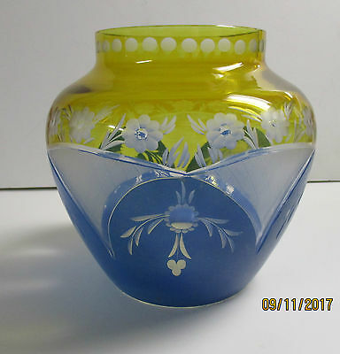 Eagermann   Czech ,Yellow,Blue cut and etched vase