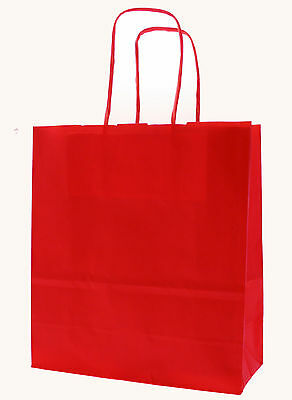 Cherry Red Paper Carrier Bags with Twisted Paper Handles - Size: 25 x 18 x 8