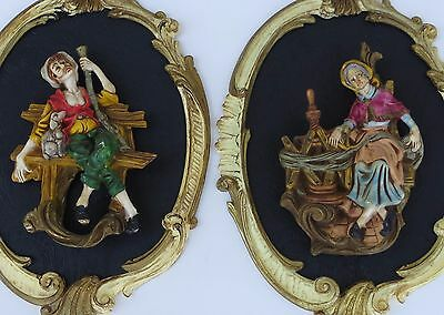 Vintage Victorian Style Peasant Art Plaque Wall Hangings  By Empire Italy