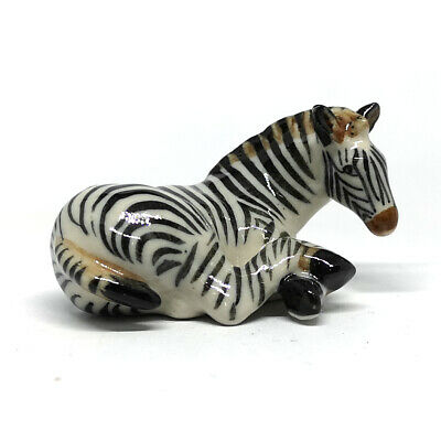 Wildlife COLLECTIBLE MINIATURE Pocelain Ceramic Zebra Hand Made FIGURINE