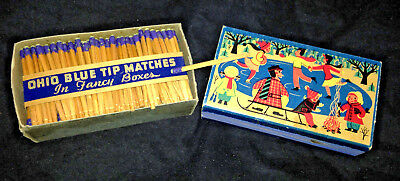 NOS 1955 Vintage Antique FULL BOX OF OHIO BLUE TIP MATCHES Fancy Ice Skating Box