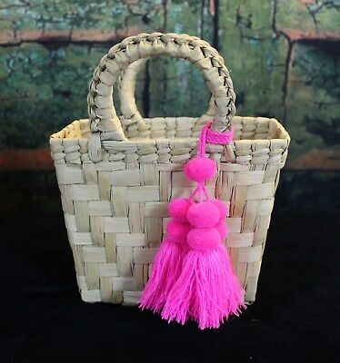 Sm Palm Frond Bag with Pom Poms, 4 Colors Hand Woven Michoacán Mexican Folk Art