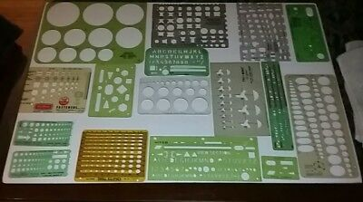 Vintage Lot of 16 Drafting Drawing Templates