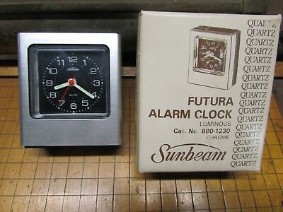 Sunbeam Futura Alarm Clock Luminous 880-1230 chrome kitchen