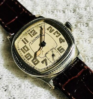 "1920s antique Illinois ""Major"" watch, art deco style"