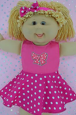 "Play n Wear Doll Clothes For 16"" Cabbage Patch POLKA DOT CIRCLE DRESS~HEADBAND"