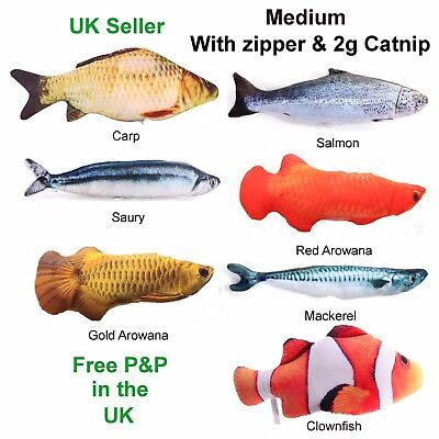 Interactive Realistic Fish Pet Cat Toy Catmint S/M+zip & 2g Catnip Gift UK