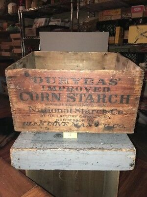 ANTIQUE Duryeas Corn Starch  Oswego NY Advertising Wooden Dovetailed Crate Box