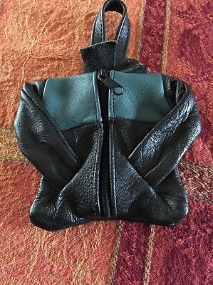 Leather zippered Change Purse design of a leather coat black & green