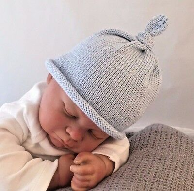 Hand made knitted  baby beanie hat gift hospital hat cotton sky blue girl/boy
