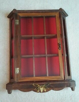 Antique Vintage Wall Curio Cabinet Glass Door and Sides Red Velvet Interior