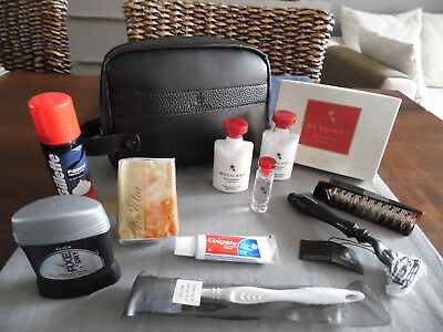 EMIRATES First Class BVLGARI Leather Amenity Kit Trousse Neceser Kulturbeutel