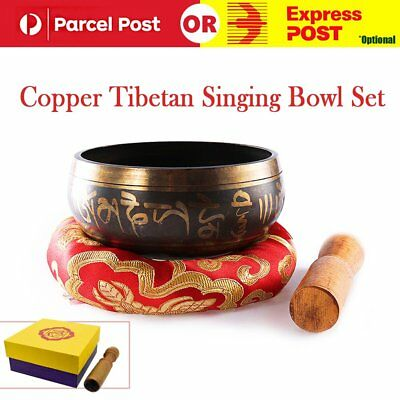 Gilt Copper Tibetan Singing Bowl Set For Meditation/Prayer/Yoga/ Mindfulness AU