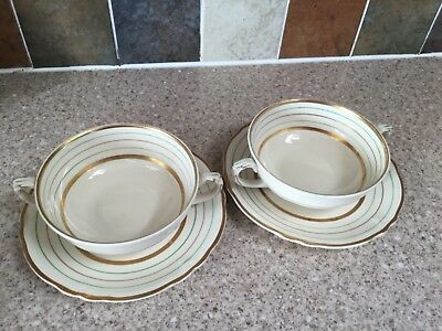 grindley creampetal gold green banded vintage soup coup with saucers x 2