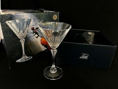 2 Cristal d'arques Longchamp 25th Anniversary Crystal Martini Glass 7 7/8'' NIB